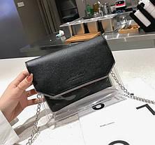 Стильна прозора сумка з клатчем на ланцюжку, фото 2