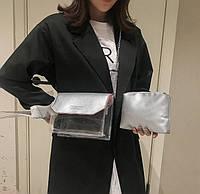 Стильная прозрачная сумка с клатчем на цепочке