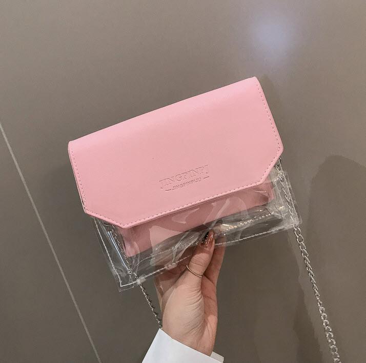 Стильна прозора сумка з клатчем на ланцюжку