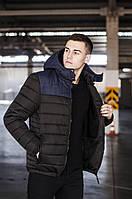 """Стильная мужская короткая зимняя куртка Pobedov """"Rise"""" черная с синим - размеры М, L, XL"""