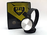 ST12 реплика Sony bluetooth наушники гарнитура с FM и MP3, черные с серебром