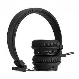 Стильные беспроводные функциональные Bluetooth наушники NIA X3 c FM и MP3, чёрные