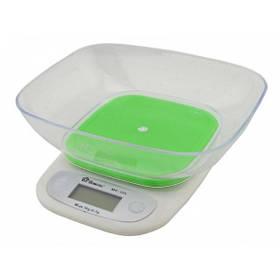 Кухонные электронные весыс чашей до 7 кг. Domotec MS-125 сенсорное управление, Green