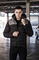 """Мужская зимняя спортивная куртка """"Райс"""" с капюшоном черная с серым - L, XL"""