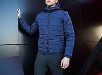 """Зимняя мужская теплая спортивная куртка с капюшоном """"Райс"""" синяя - L"""
