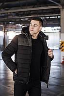 """Зимняя мужская теплая короткая куртка """"Райс"""" черная с хаки - M, L, XL"""