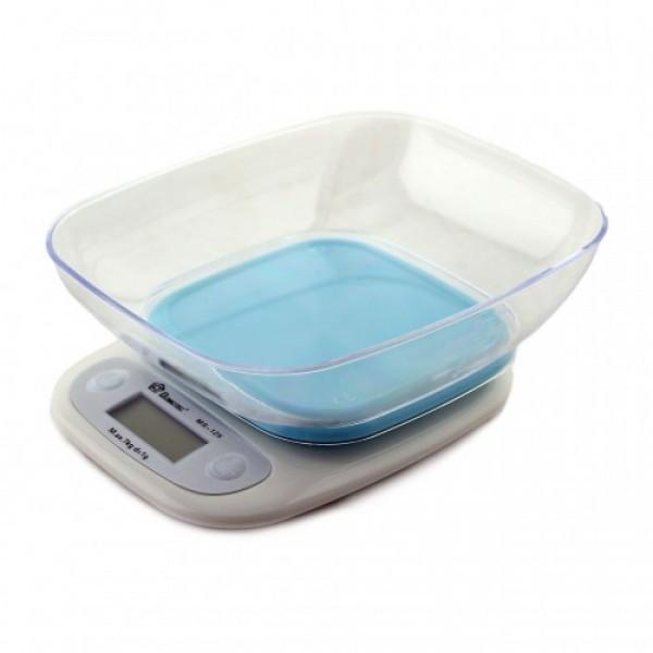 Кухонные электронные весы с чашей до 7 кг. Domotec MS-125 сенсорное управление, Blue