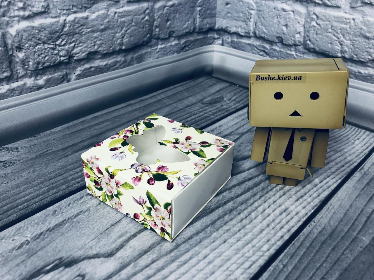 *50 шт* / Коробка для пряников / 80х80х35 мм / печать-Весна / окно-Бабочка