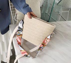 Стильная твидовая женская сумка с атласной лентой
