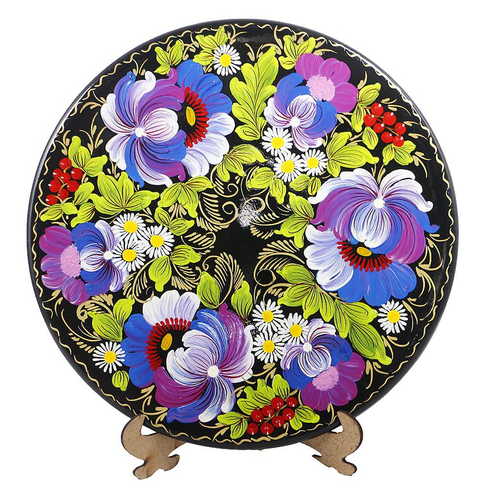 Цветы М-10 Тарелка Д250 деревянная декоративная тарелка петриковка диаметр 25 см