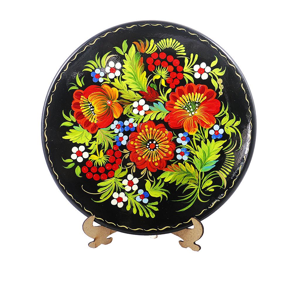 Цветы М-4 Тарелка Д250 деревянная декоративная тарелка петриковка диаметр 25 см