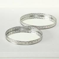 Набор 2-х подносов серебристый металл d26-30см 4218400 подносы, поднос