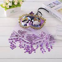 Эротическая маска в восточном стиле с вышитой паетками вуалью, карнавальная маска в виде паранджи