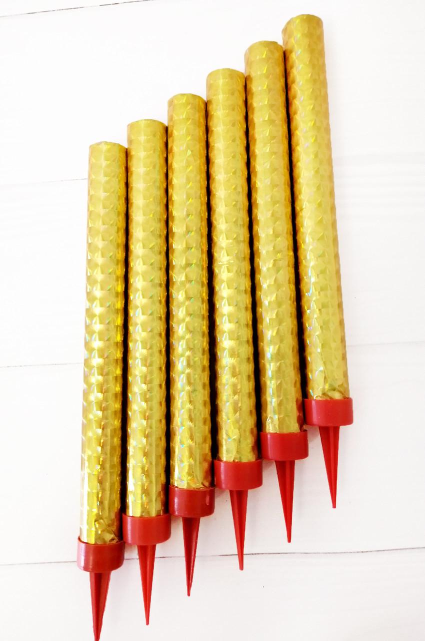Свеча холодный фонтан 12см золотой (6 шт)