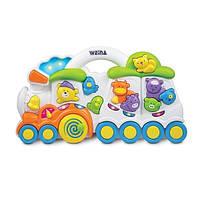 """Детская развивающая музыкальная игрушка Weina """"Паровозик с животными"""" (2106)"""