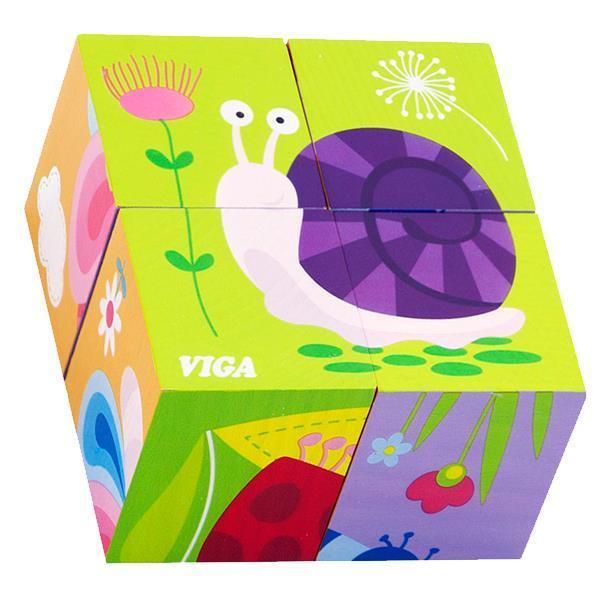 """Детские красочные деревянные Пазлы-кубики Viga Toys """"Насекомые"""" (50160)"""
