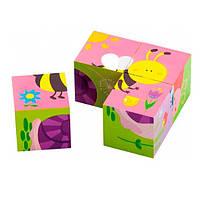 """Детские красочные деревянные Пазлы-кубики Viga Toys """"Насекомые"""" (50160), фото 2"""