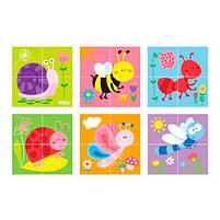 """Детские красочные деревянные Пазлы-кубики Viga Toys """"Насекомые"""" (50160), фото 3"""