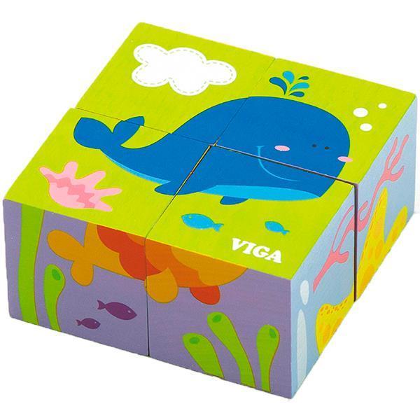 """Детские красочные деревянные Пазлы-кубики Viga Toys """"Подводный мир"""" (50161)"""