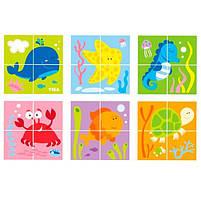 """Детские красочные деревянные Пазлы-кубики Viga Toys """"Подводный мир"""" (50161), фото 2"""
