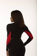 Спортивный женский топ рашгард Black&Red длинный рукав, фото 2