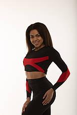 Спортивный женский топ рашгард Black&Red длинный рукав, фото 3
