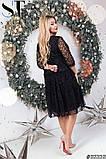 Нарядное женское платье черного цвета Флок на сетке Размер 50 52 54 56 58 60 62, фото 2