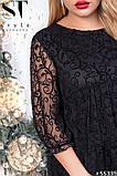 Нарядное женское платье черного цвета Флок на сетке Размер 50 52 54 56 58 60 62, фото 3