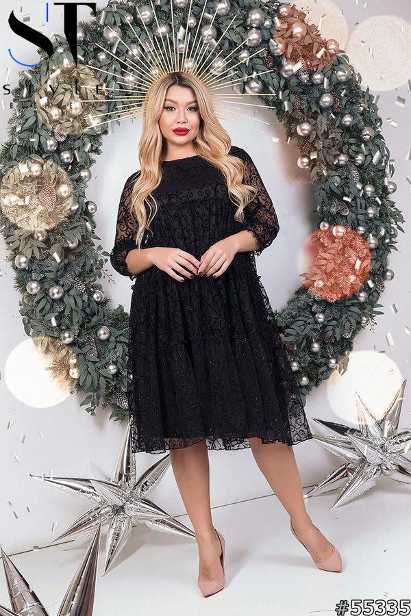 Нарядное женское платье черного цвета Флок на сетке Размер 50 52 54 56 58 60 62