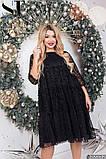 Нарядное женское платье черного цвета Флок на сетке Размер 50 52 54 56 58 60 62, фото 4