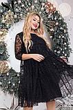 Нарядное женское платье черного цвета Флок на сетке Размер 50 52 54 56 58 60 62, фото 5