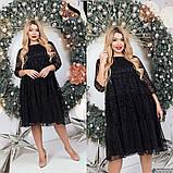 Нарядное женское платье черного цвета Флок на сетке Размер 50 52 54 56 58 60 62, фото 6