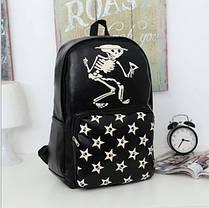 Стильный черный рюкзак с принтом Череп, фото 3
