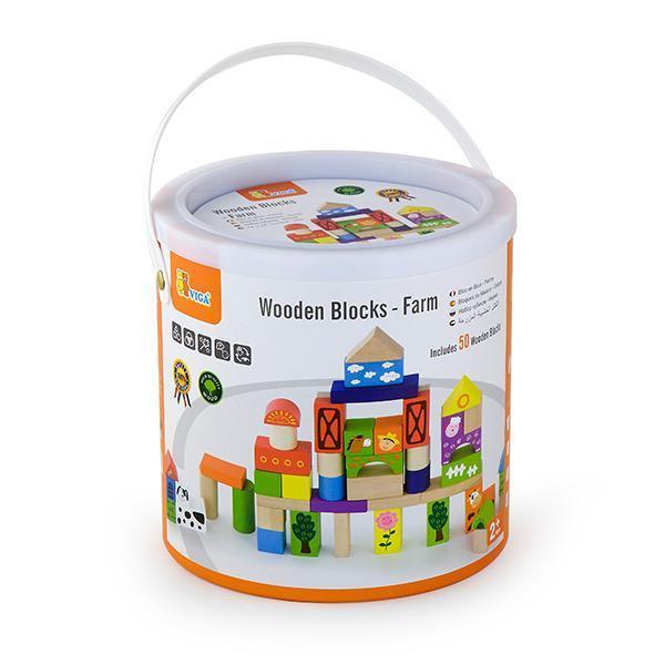 """Детский деревянный набор строительных блоков Viga Toys """"Ферма"""", 50 шт., 3 см. (50285)"""
