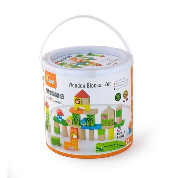 """Детский деревянный набор строительных блоков Viga Toys """"Зоопарк"""", 50 шт., 3 см (50286)"""