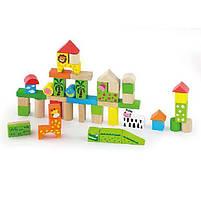 """Детский деревянный набор строительных блоков Viga Toys """"Зоопарк"""", 50 шт., 3 см (50286), фото 2"""