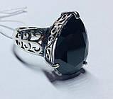 Срібний перстень з чорним каменем Агата, фото 3