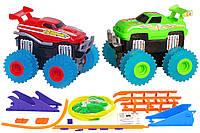 Машинки на бат. Trix Trux набор 2 машинки с трассой (красный+зеленый), фото 1