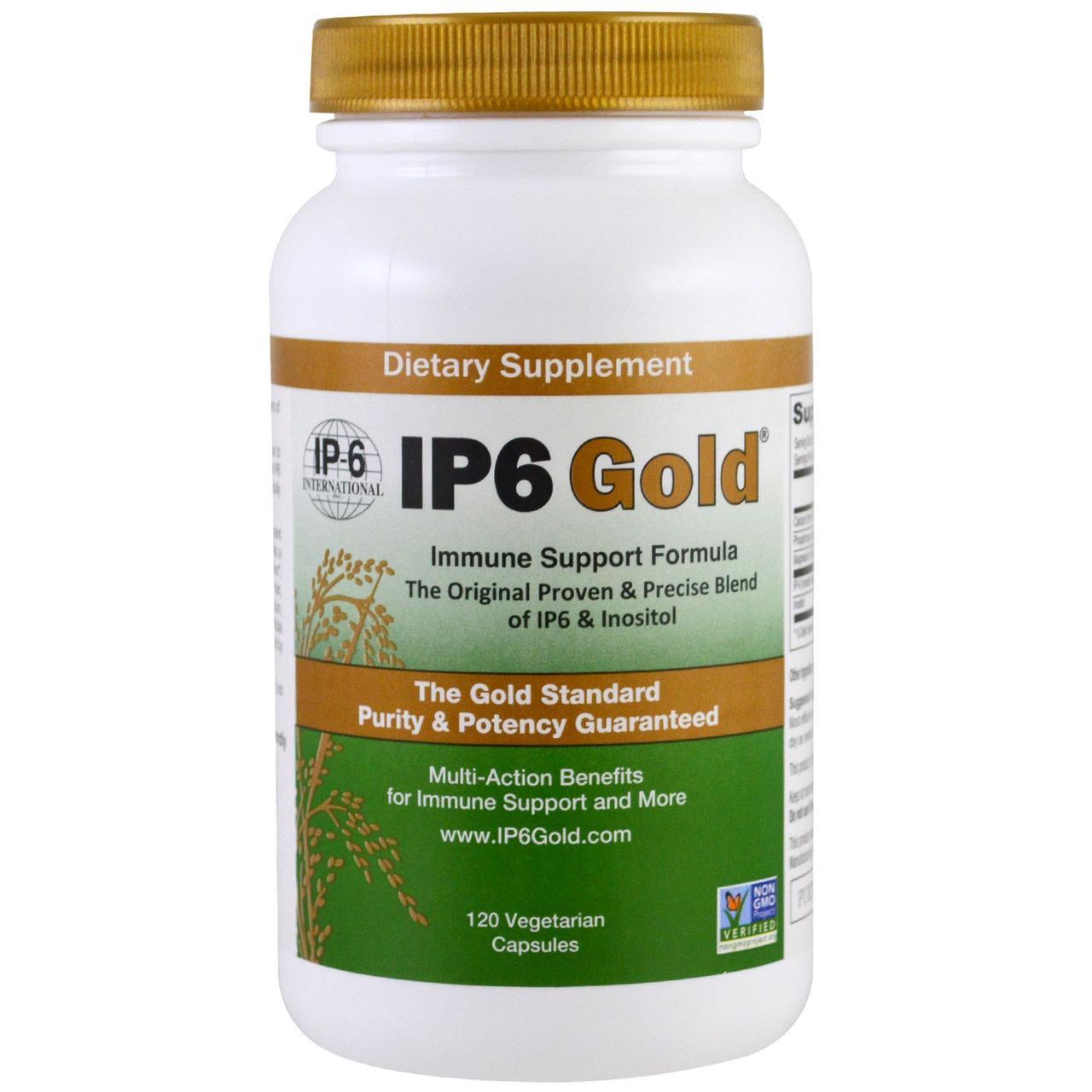 IP-6 International, IP-6 Gold, формула для укрепления иммунитета, 120 растительных капсул