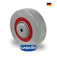 Колесо со втулкой и метизом, полиамид/эласт.резина/полиамид 125 мм, ролик.подшип.,200 кг(Германия)