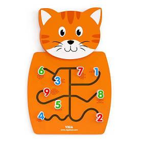 """Детская Деревянная Развивающая Настенная игрушка Viga Toys """"Кот с цифрами"""" (50676)"""