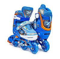"""Ролики для детей модель """"3-wheels""""Blue,цвет синий с ярко- голубым оттенком,размер 27-30. Все колеса светятся!"""