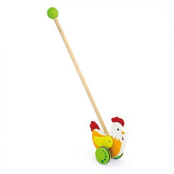 """Детская деревянная игрушка-каталка Viga Toys """"Курочка"""" (50964)"""