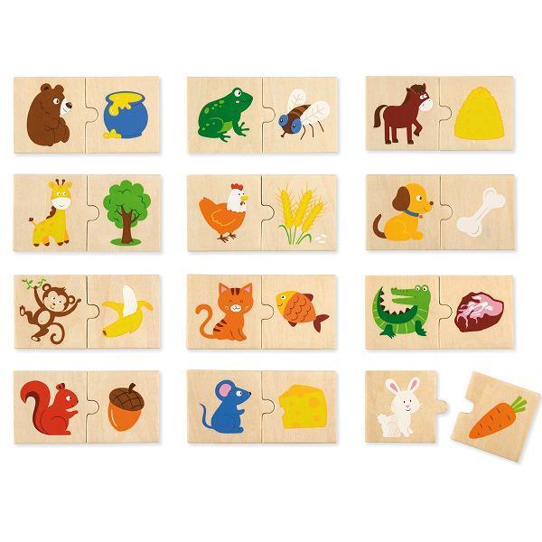 """Детский развивающий набор пазлов Viga Toys """"Что едят животные"""" 24 детали  (51607)"""