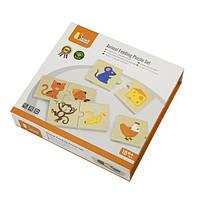 """Детский развивающий набор пазлов Viga Toys """"Что едят животные"""" 24 детали  (51607), фото 2"""
