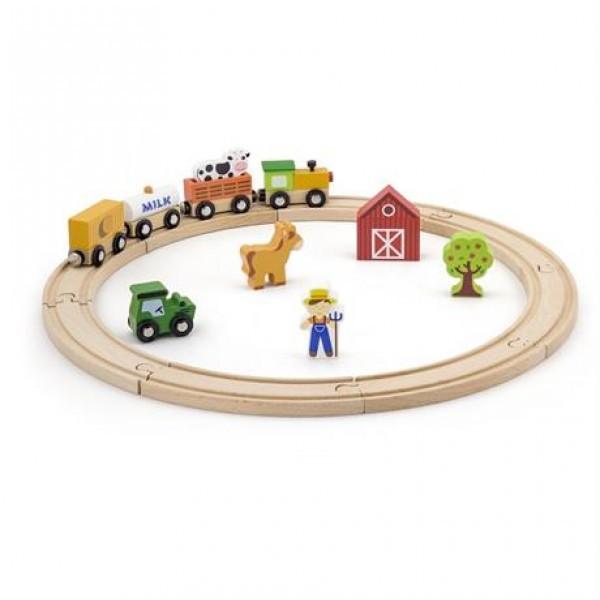 """Детский деревянный игровой набор Viga Toys """"Железная дорога"""", 19 деталей (51615)"""