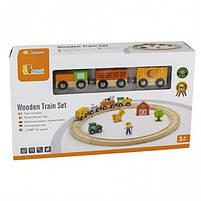 """Детский деревянный игровой набор Viga Toys """"Железная дорога"""", 19 деталей (51615), фото 2"""