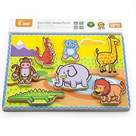 """Детский Деревянный Пазл-рамка-вкладыш Viga Toys """"Животные"""" (56435)"""