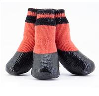 Носки для собак с латексным покрытием красные с черной полосой Мини