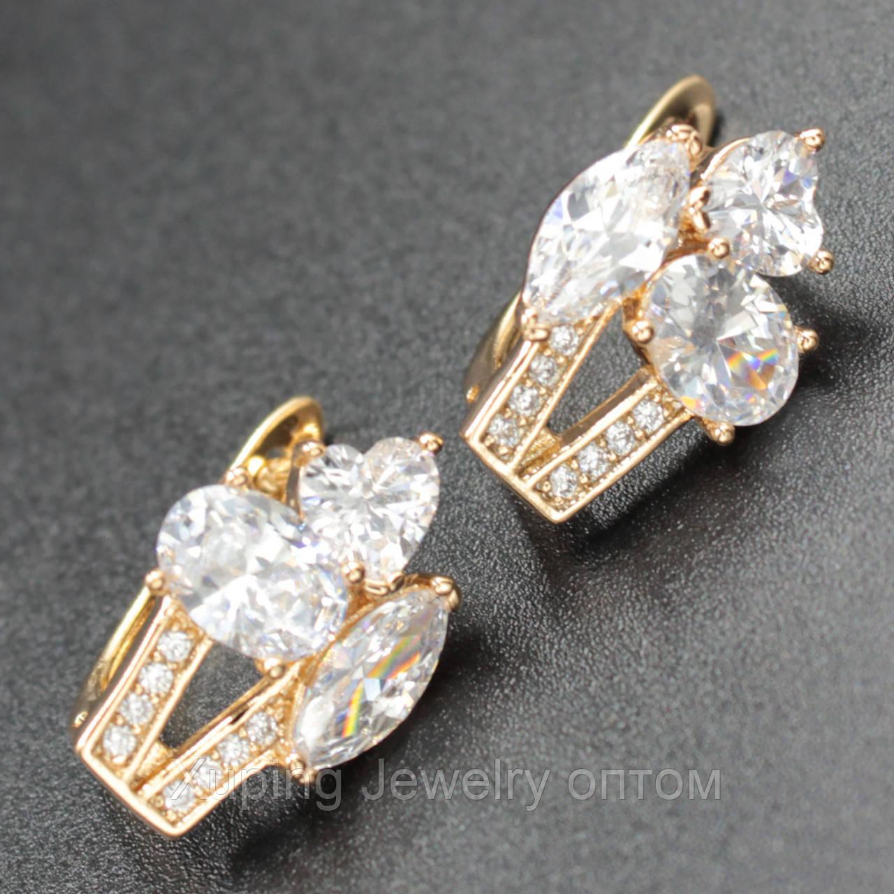 """Серьги женские """"Petronella"""" Xuping Jewelry (позолота)."""